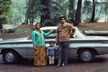 COURTESY ALI AKBAR KHAN LIBRARY. Pandit Shankar Ghosh, Shrimati Sanjukta Ghosh, with Vikram (Boomba) Ghosh at Samuel P. Taylor State Park, Lagunitas, CA, circa 1970.